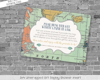 display shower insert   unwrapped gift enclosure card   World map baby shower   oh the places you'll go   Adventure Awaits   1466 Katiedid