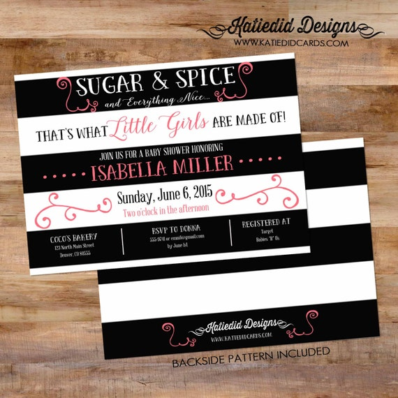 black and white stripe shower invitation co-ed baby shower diaper wipe brunch sugar and spice baby shower it's a girl 1309 Katiedid Designs