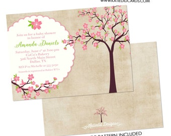 Cherry blossom baby shower invitation first communion memorial announcement Rustic girl 1st birthday floral baptism | 1344 katiedid designs