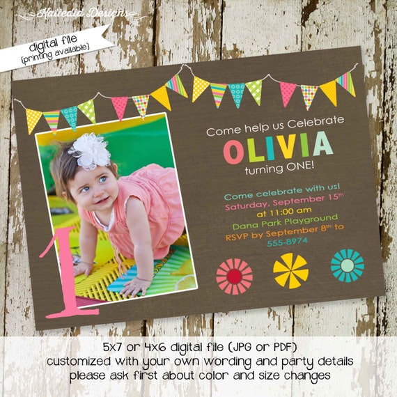 Rainbow invitation 1st first birthday party floral bunting picture ultrasound pregnancy announcement retirement gay | 273 Katiedid Cards