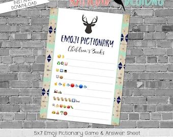 emoji pictionary children's books baby shower game Deer baby shower woodland tribal rustic navy mint gray boy party   1238b Katiedid Designs