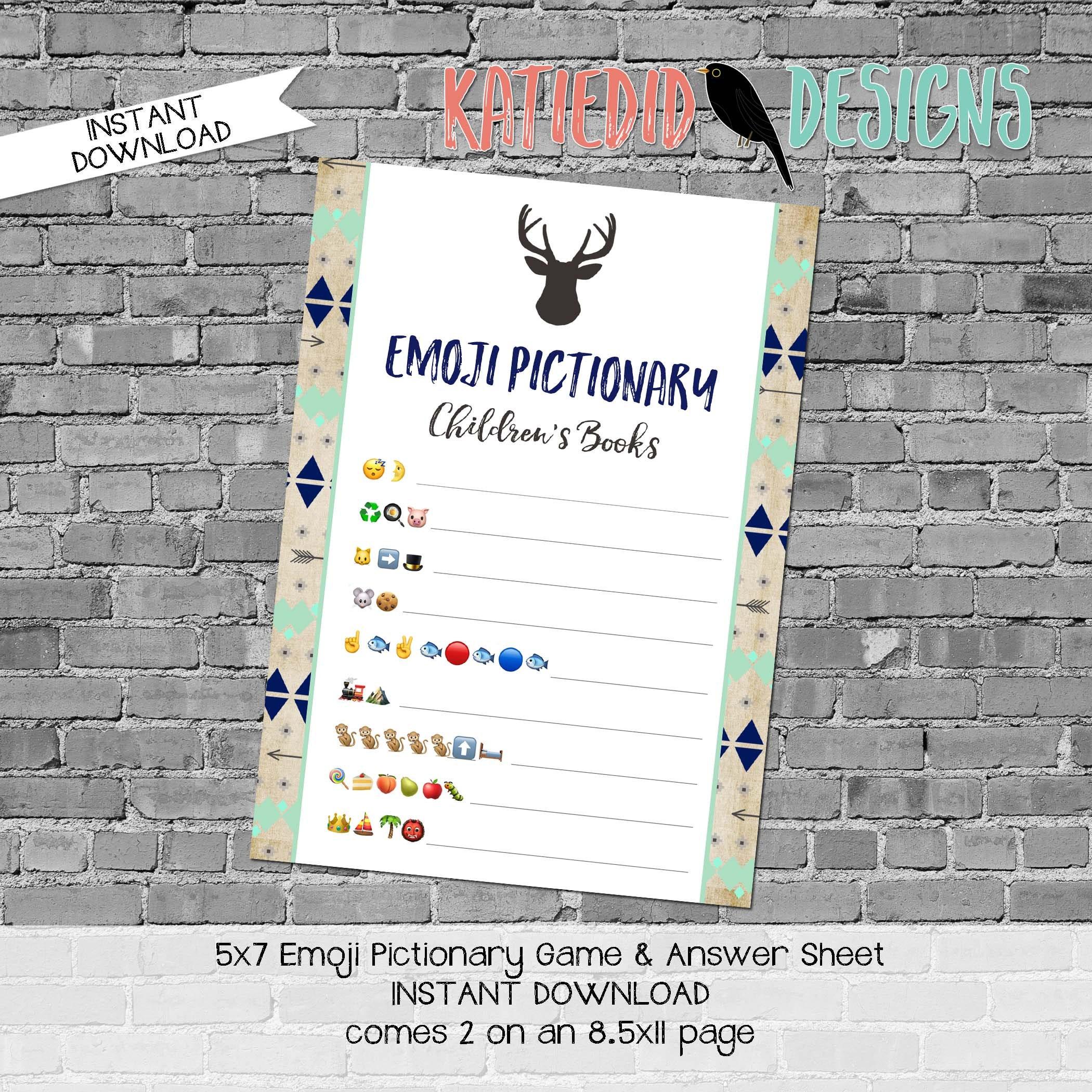 emoji pictionary children's books baby shower game Deer