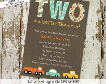 Car twins baby shower invitation Travel theme little truck couples coed sprinkle sip see diaper wipes birthday oh boy brunch   154 Katiedid