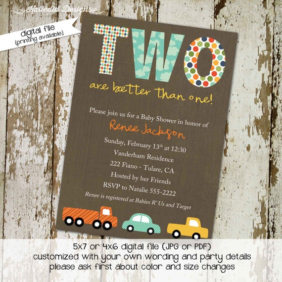Car twins baby shower invitation Travel theme little truck couples coed sprinkle sip see diaper wipes birthday oh boy brunch | 154 Katiedid