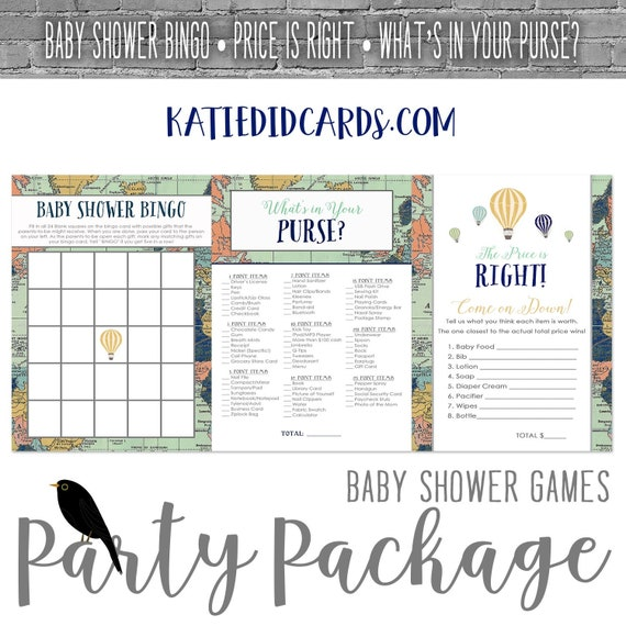 Adventure Awaits Hot air balloon baby shower party package world map travel Game BINGO Price is Right What's in your purse | 1466 Katiedid