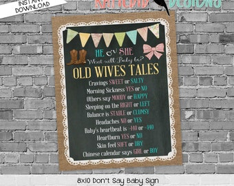Old Wives Tales Gender Reveal Party Game Sign, Boots or Bows Chalkboard Sign for baby shower   1410 Katiedid designs