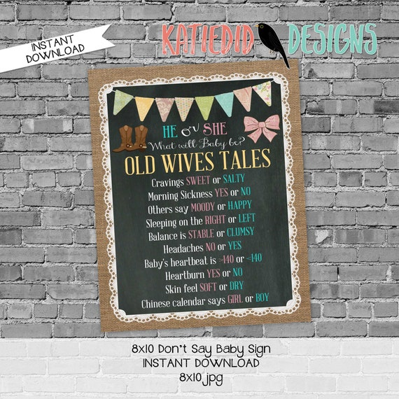 Old Wives Tales Gender Reveal Party Game Sign, Boots or Bows Chalkboard Sign for baby shower | 1410 Katiedid designs
