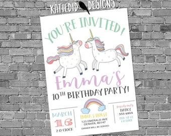 Unicorn birthday invitation baby shower twin confetti rainbow hearts little girl gender neutral reveal 1st first party   2006 Katiedid