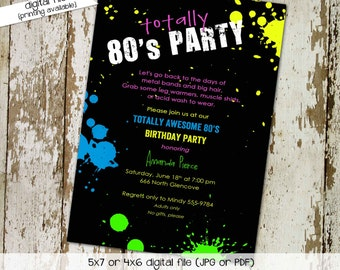 80s party invitation Stock the bar couples shower Totally 30th 40th 50th birthday retirement reunion bridal rehearsal   214 Katiedid Cards