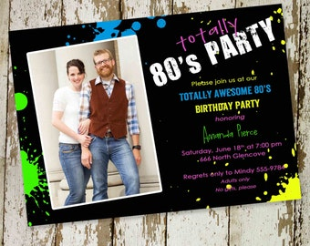 80s party invitation Stock the bar couples shower Totally 30th 40th 50th birthday retirement reunion rehearsal photo picture   214 Katiedid