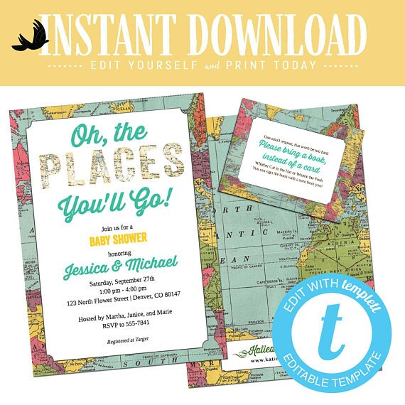Adventure baby shower invitation awaits boy gender reveal neutral travel theme oh places you go sip see couples coed twins | 1294 Katiedid