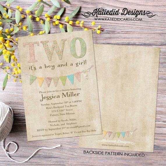 Twins baby shower invitation gender reveal neutral pastel bunting banner birthday Rustic sip see boy girl sprinkle Two | 151 Katiedid cards