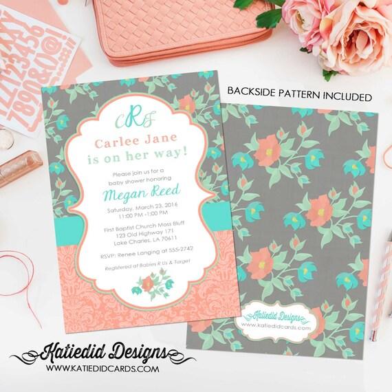 Couples baby shower invitation girl gender neutral monogram coed floral mint coral sprinkle brunch bubbly bridal sip see | 1335 Katiedid