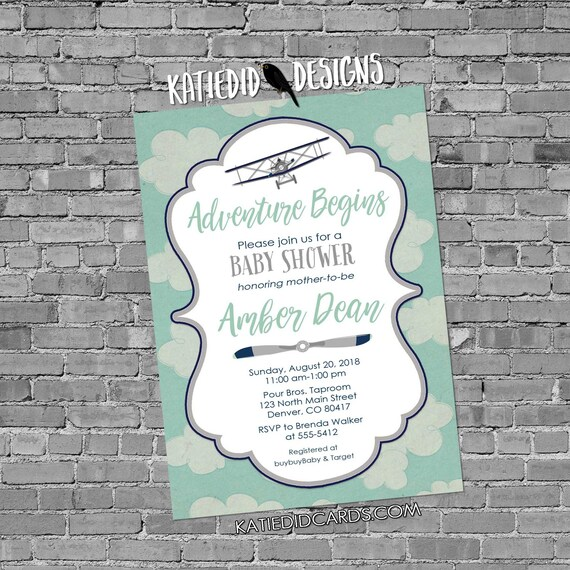 Adventure awaits couples baby shower invitation Vintage Airplane Travel Theme gender begins neutral reveal sip see boy | 13130b Katiedid
