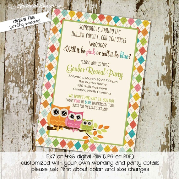 gender reveal invitation owl baby shower twins neutral couples coed diaper wipes brunch sprinkle sip see argyle rainbow LGBT | 1426 Katiedid