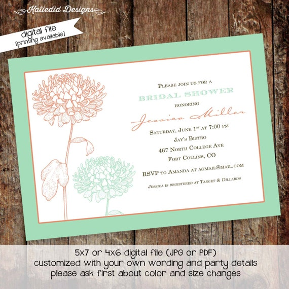 Couples shower invitation bridal Rehearsal Dinner I do BBQ engagement party stock the bar mint coral floral baptism | 310 Katiedid Designs