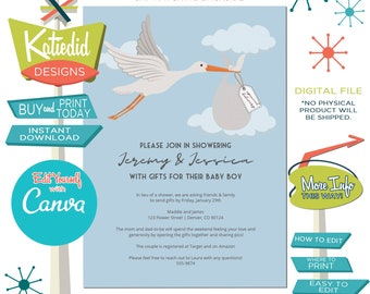 Stork Special Delivery Gender Neutral Baby Shower Invitation, Drive by Shower Social Distancing | 111 Katiedid Designs