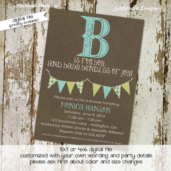 Couples baby shower invitation gender neutral rustic b is for boy gender reveal twins diaper wipes brunch coed sprinkle | 1276 katiedid card
