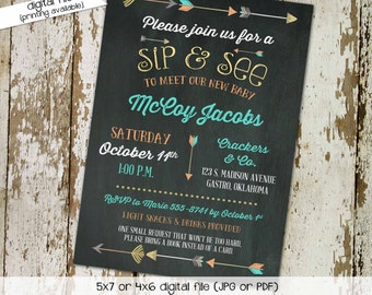 Tribal boy baby shower invitations Rustic shower invitations gender neutral Co-ed sip and see invitation First communion Gay   1259 Katiedid