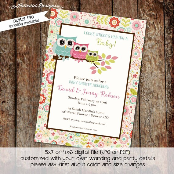 owl baby shower invitation couples girl twins floral diaper wipes brunch coed sprinkle sip see 1st birthday pink blue | 147 Katiedid Designs