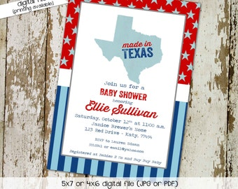 made in texas patriotic couples baby shower invitation birthday stars stripes sprinkle red white blue boy sip see   1227 Katiedid Designs