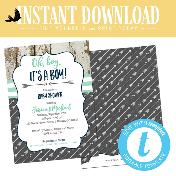 Baby boy shower invitation rustic tribal navy mint gray twin couple coed sprinkle sip see birthday baptism oh diaper brunch | 12120 Katiedid