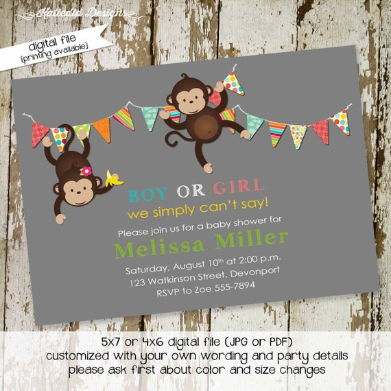 monkey gender reveal invitation twins baby shower couples coed pink blue boy girl he she rainbow gay LGBT gray neutral | 1423 katiedid cards