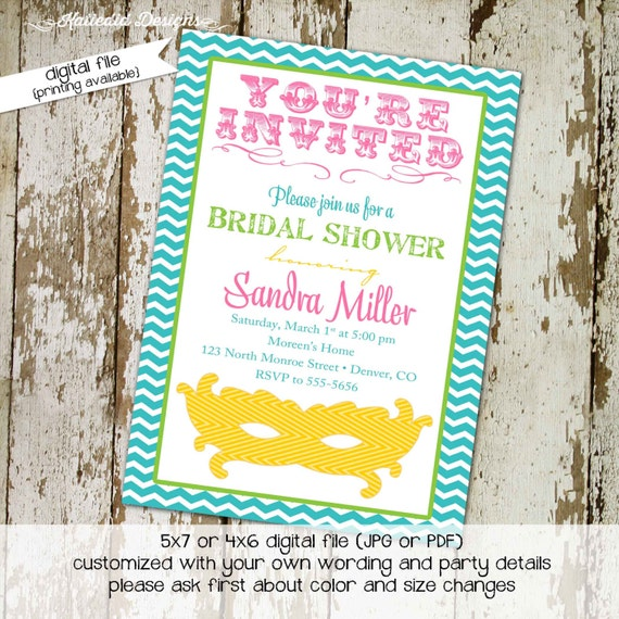Masquerade couples shower invitation bridal I do BBQ engagement party rehearsal dinner mask mardi gras bachelorette | 343 Katiedid designs