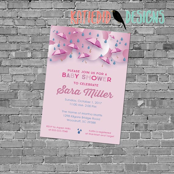 Baby girl shower invitation sprinkle sip see diaper wipes brunch umbrella raindrops pink twins love big sister | 12130P Katiedid Designs