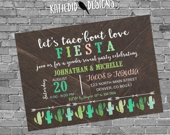 Fiesta gender reveal invitation baby shower cinco de mayo taco 'bout love stock the bar cactus couples coed twins mexican | 1494 katiedid