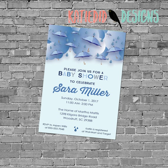 Baby boy shower invitation sprinkle sip see diaper wipes brunch umbrella raindrops blue twins love big brother | 12130B Katiedid Designs