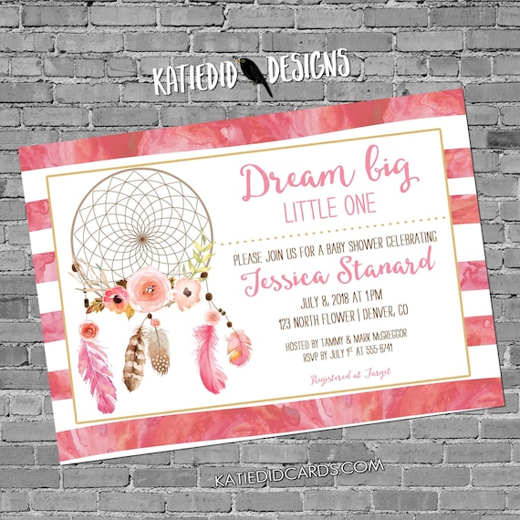 Dreamcatcher couples baby shower invitation tribal boho rustic twins baptism pink floral watercolor sprinkle graduation | 1387 Katiedid card