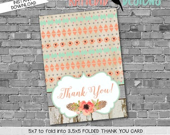 rustic baby girl shower invitation mint coral invite tribal arrows invite THANK YOU CARD folded notecard stationary 1445 Katiedid Designs