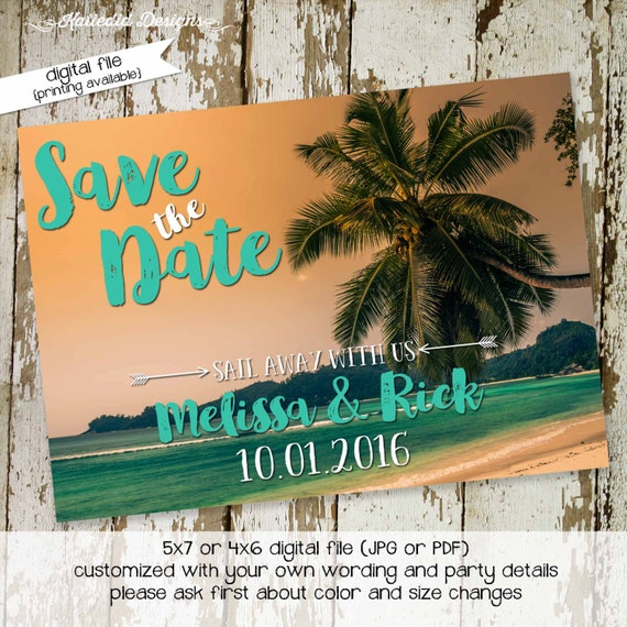 luau Hawaiian invitation tropical wedding save the date postcard Travel Theme Couples shower Bridal Rehearsal Dinner palm | 330 Katiedid