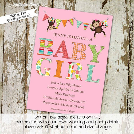 twins baby shower invitation monkey couples coed rainbow sip see sprinkle diaper wipes brunch birthday bunting banner | 1321 katiedid design