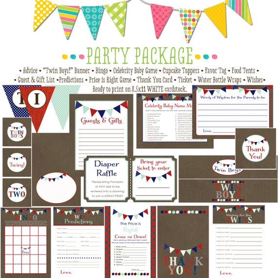 Twins baby shower party package patrotic red white blue camo army military wishes banner thank you advice boy cupcake | 152 Katiedid Designs