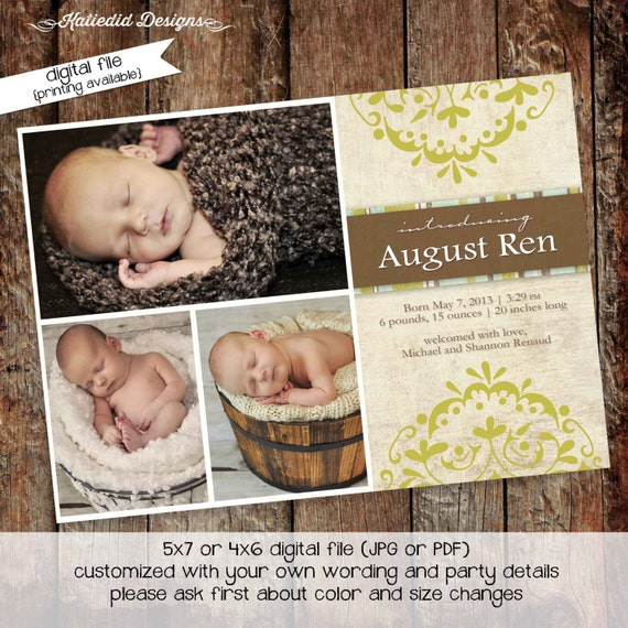 Birth announcement newborn baby boy pregnancy photo LDS mormon baptism invitation rustic blessing picture birthday | 423 Katiedid Designs