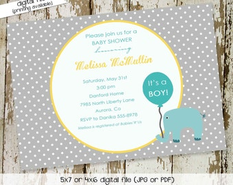 elephant baby shower invitation gender reveal neutral couples coed boy sprinkle sip see twins ready to pop balloon | 1271 Katiedid Designs