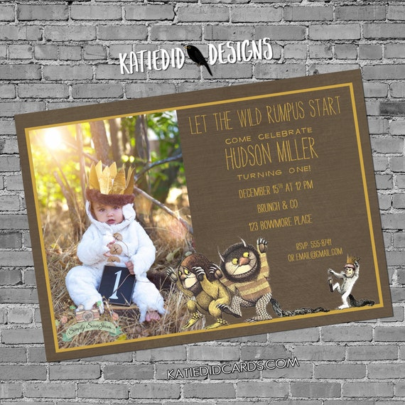 where the wild things are one two rumpus birthday baby shower invitation boy sprinkle pregnancy announcement photo picture | 224 Katiedid