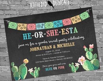 Cinco de Mayo Gender reveal invitation Fiesta couples baby shower twins coed cactus mexican southwest | 1490 katiedid designs