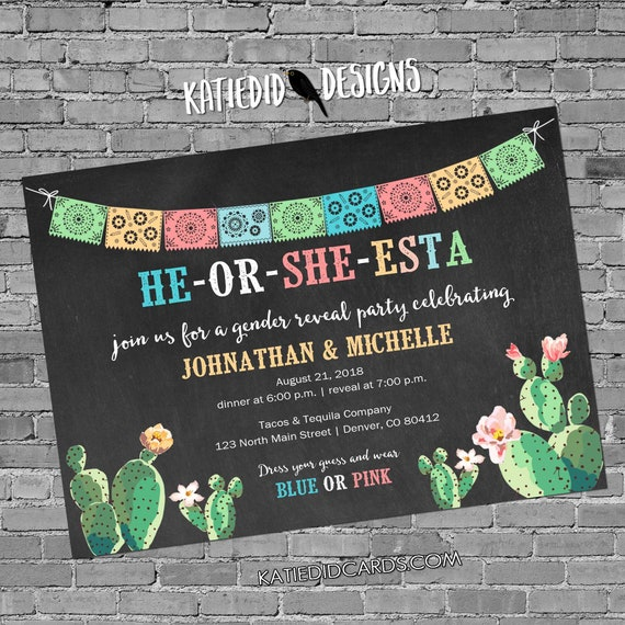 Fiesta invitation gender reveal cactus couples baby shower cinco de mayo coed twins mexican party he or she western | 1490 katiedid designs