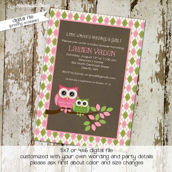 Gender reveal invitation Owl baby shower girl printable couples coed sip see argyle pink green rustic sprinkle baptism   1331 Katiedid Cards