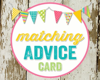 ADVICE CARD to match any invitation for baby shower or bridal shower, digital, DIY printable file katiedid designs cards