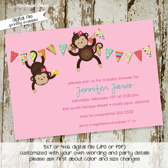 monkey couples baby shower invitation jungle safari coed sprinkle sip see birthday diaper wipes brunch girl twins LGBT | 1322 Katiedid Cards