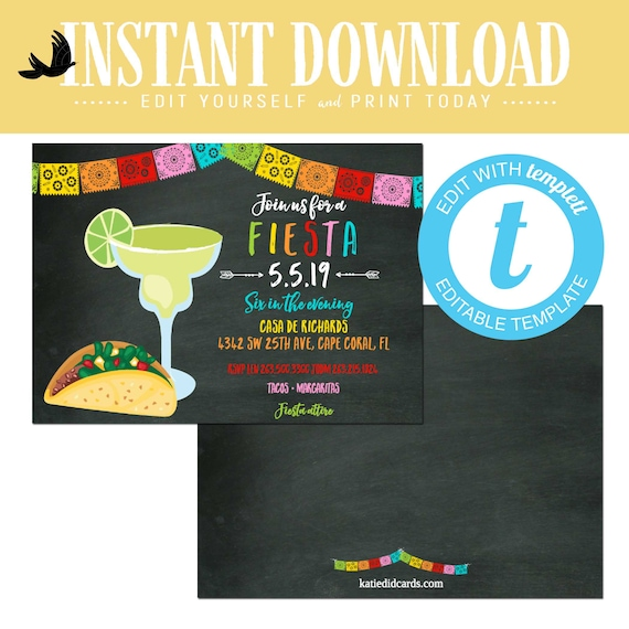 Cinco de Mayo fiesta bridal shower invitation, stock the bar adult birthday rehearsal dinner couples coed editable | 367 Katiedid