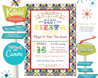 Fiesta Baby Shower Invitation Gender Neutral, Bring a Book Card, Taco Bout a Baby Gender Reveal | 1424 Katiedid Designs