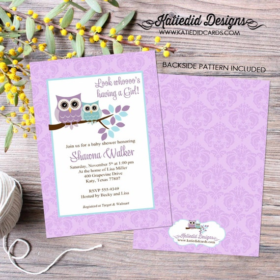 owl baby shower invitation couples coed sprinkle sip see girl aqua purple floral birthday baptism twins diaper wipes | 1375 Katiedid Designs