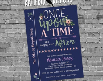 Once upon a time happily ever after couples shower invitation baby storybook girl gender reveal navy mint pink tribal   1381 Katiedid cards