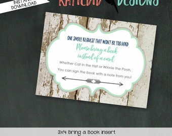 Bring a Book instead of a card enclosure card insert storybook theme library boy oh boy Tribal arrows baby shower 1238 12120 Katiedid Design