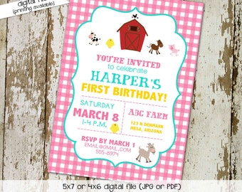 farm birthday invitation girl animals babyQ couples baby shower coed sprinkle sip see country barn rustic pink gingham   286 Katiedid Design